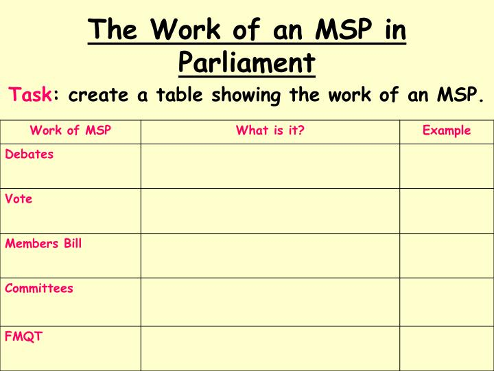 The Work of an MSP in Parliament