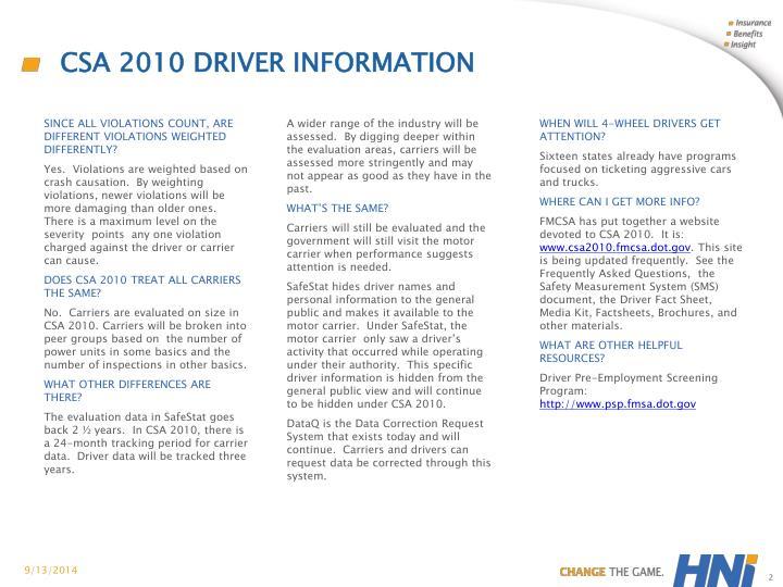 CSA 2010 Driver information