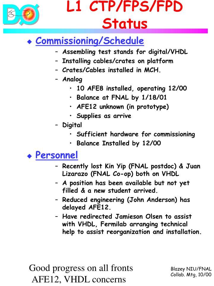 L1 CTP/FPS/FPD Status