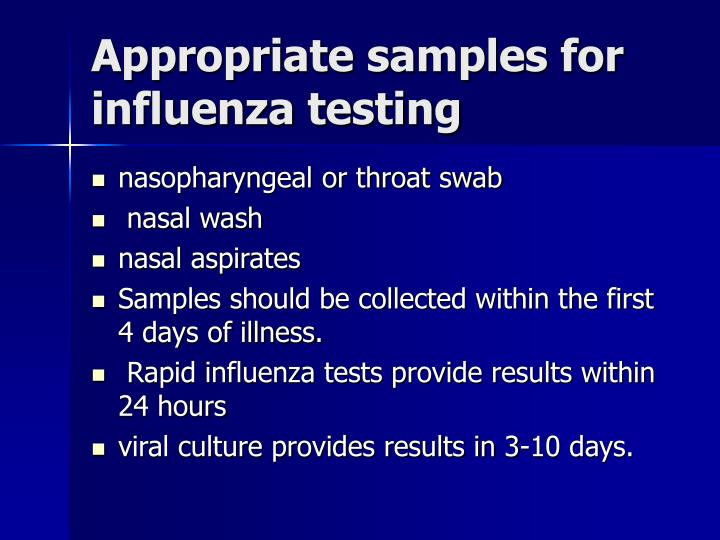 Appropriate samples for influenza testing