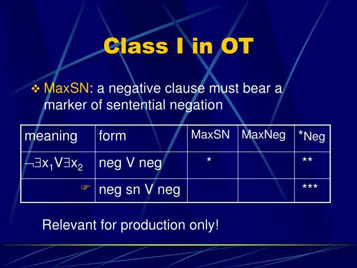 Class I in OT