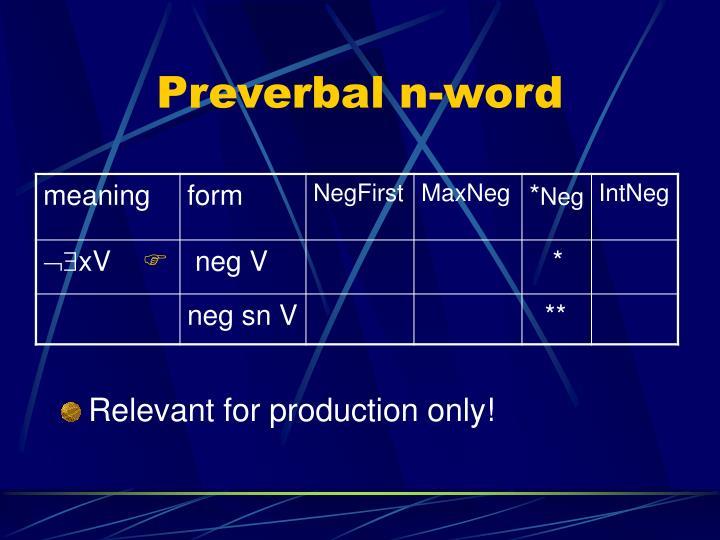 Preverbal n-word