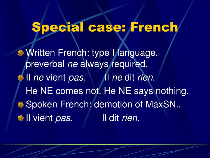 Special case: French