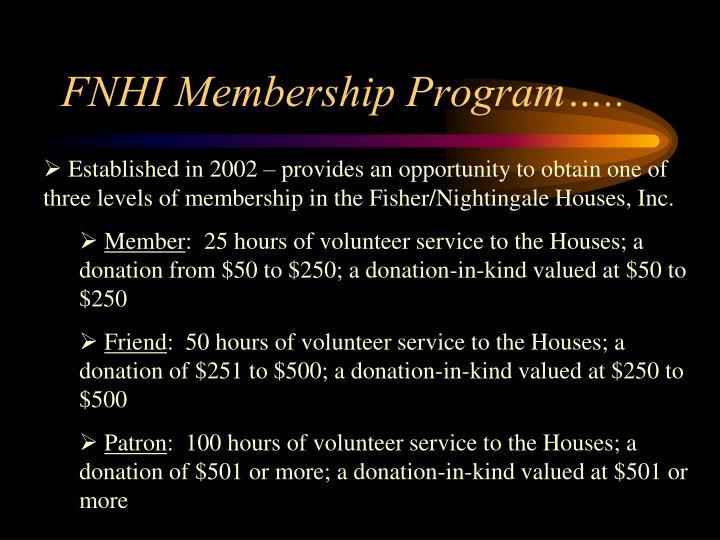 FNHI Membership Program…..