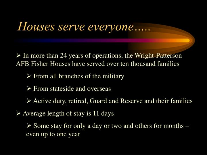 Houses serve everyone…..