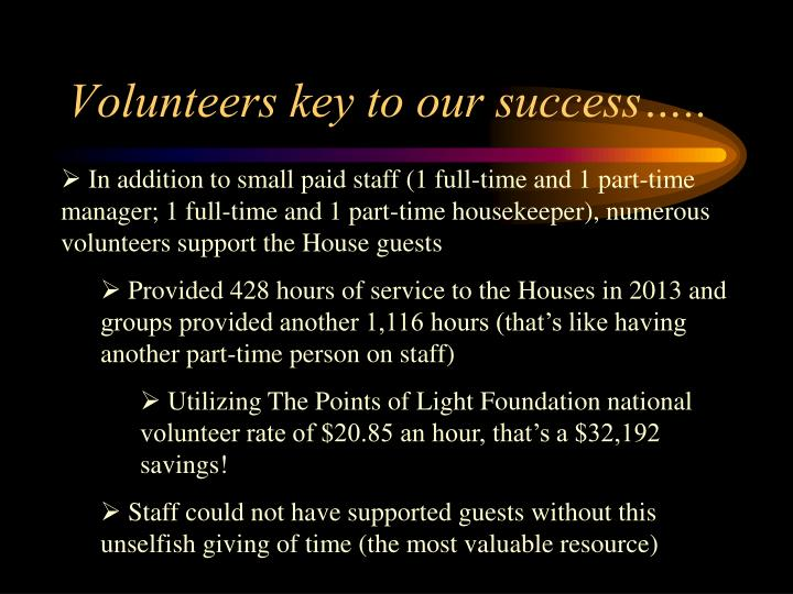 Volunteers key to our success…..