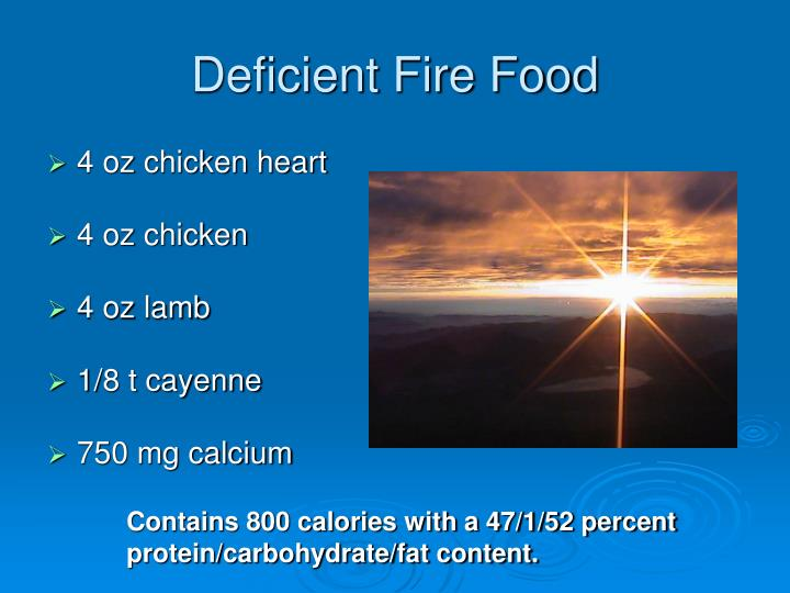 Deficient Fire Food