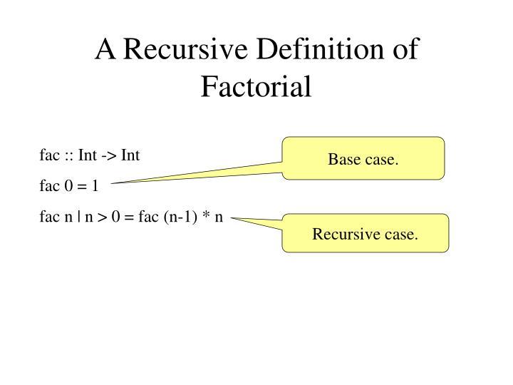 A Recursive Definition of Factorial
