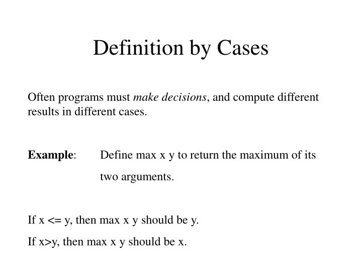 Definition by Cases