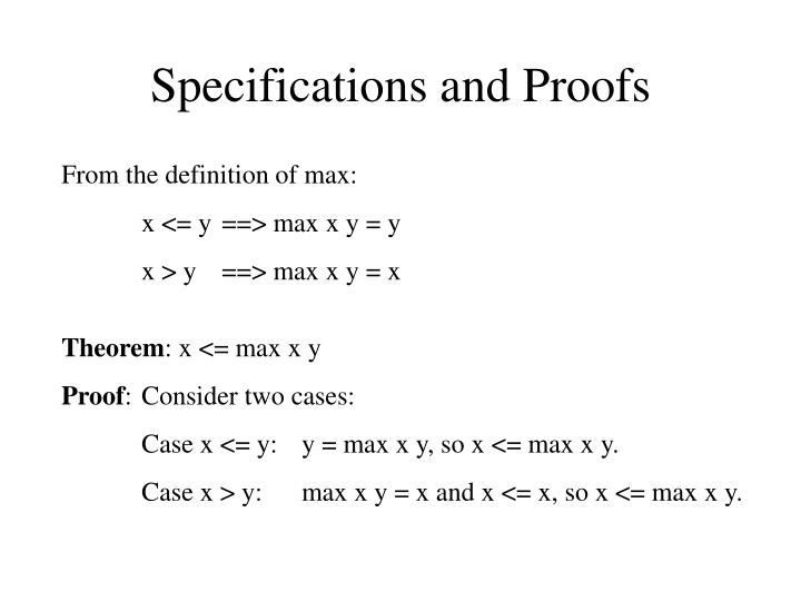 Specifications and Proofs