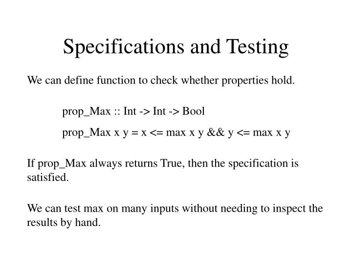 Specifications and Testing