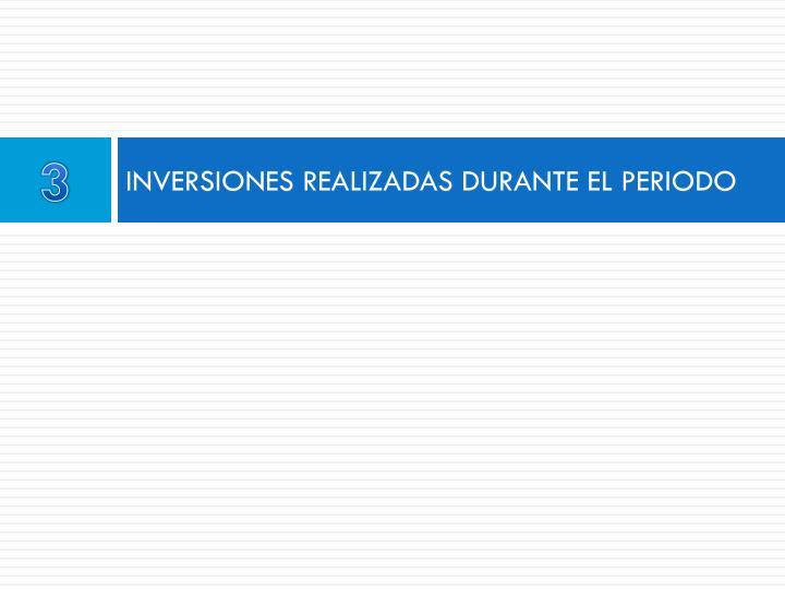 INVERSIONES REALIZADAS DURANTE EL PERIODO