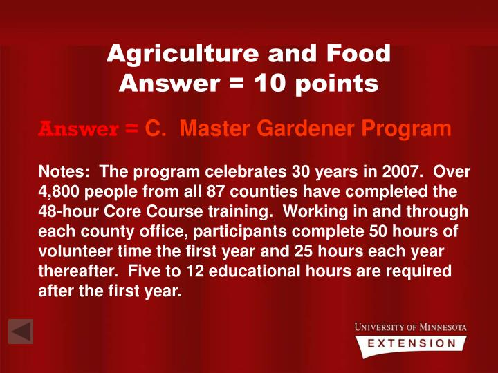 Agriculture and Food