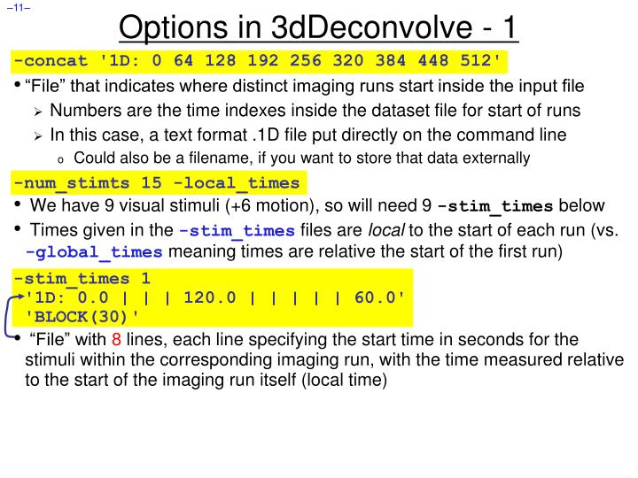 Options in 3dDeconvolve - 1