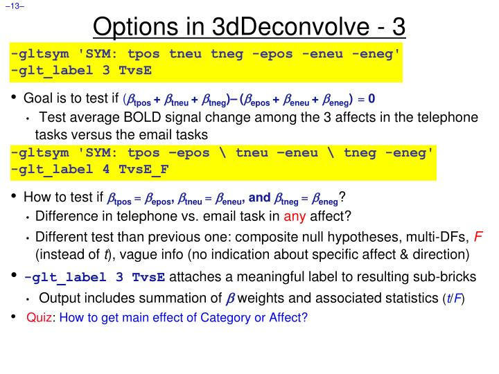 Options in 3dDeconvolve - 3