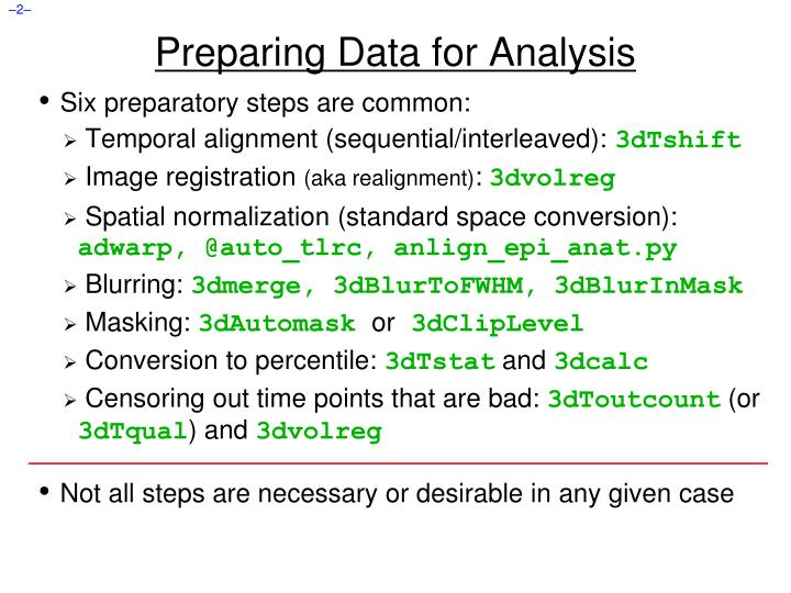 Preparing data for analysis