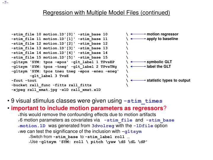 Regression with Multiple Model Files (continued)