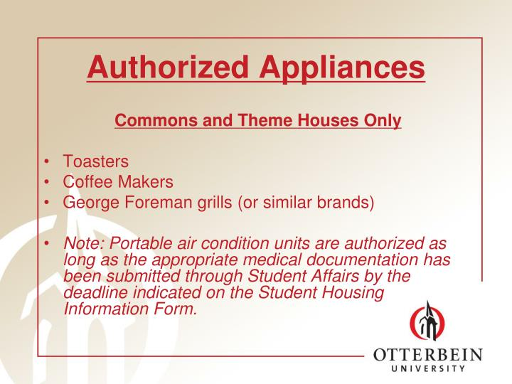 Authorized Appliances