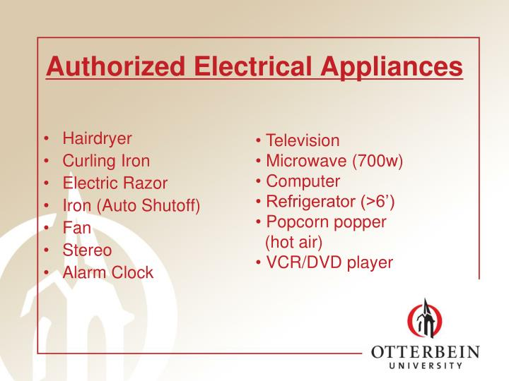 Authorized Electrical Appliances