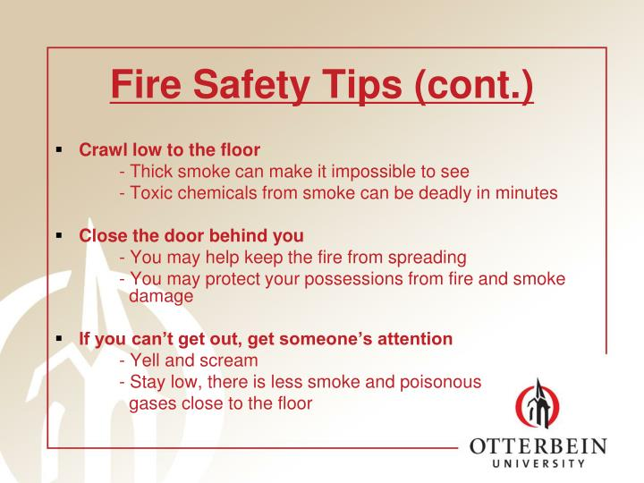 Fire safety tips cont
