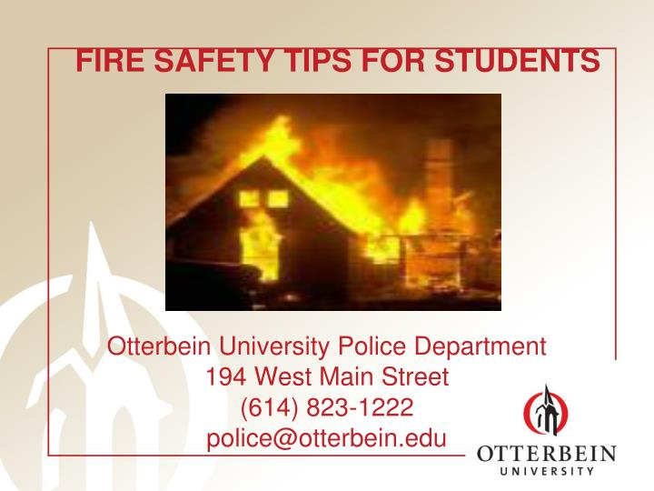 Otterbein university police department 194 west main street 614 823 1222 police@otterbein edu