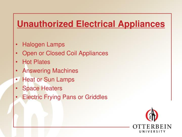 Unauthorized Electrical Appliances