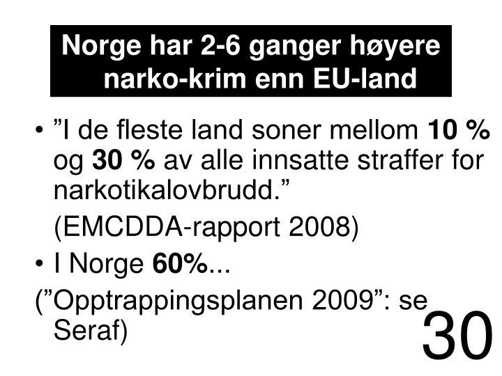 Norge har 2-6 ganger høyere narko-krim enn EU-land