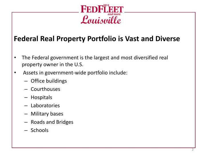Federal Real Property Portfolio is Vast and Diverse