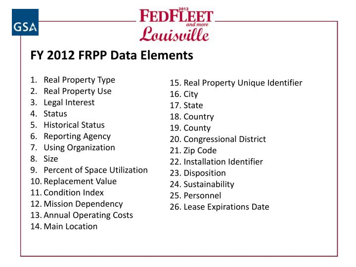 FY 2012 FRPP Data Elements