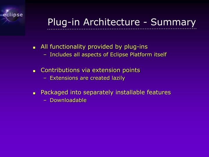 Plug-in Architecture - Summary