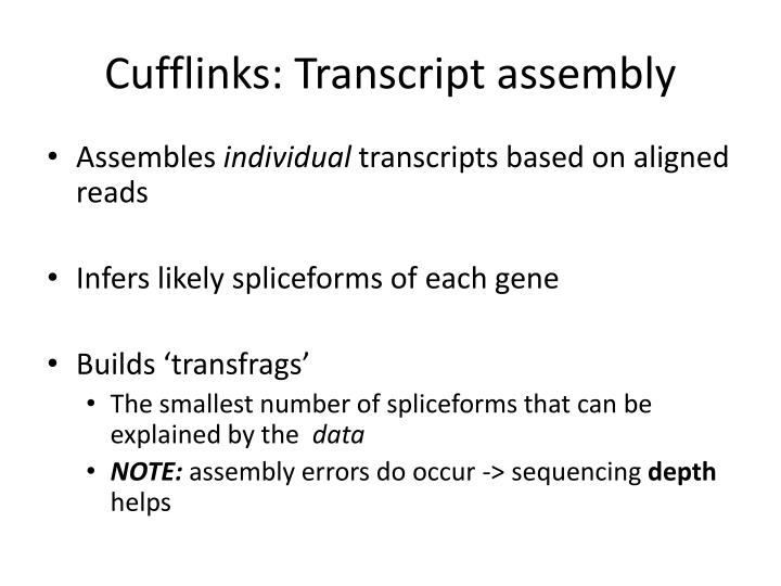 Cufflinks: Transcript assembly