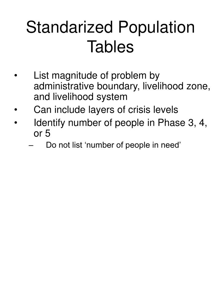 Standarized Population Tables