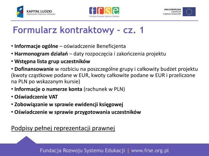 Formularz kontraktowy – cz. 1