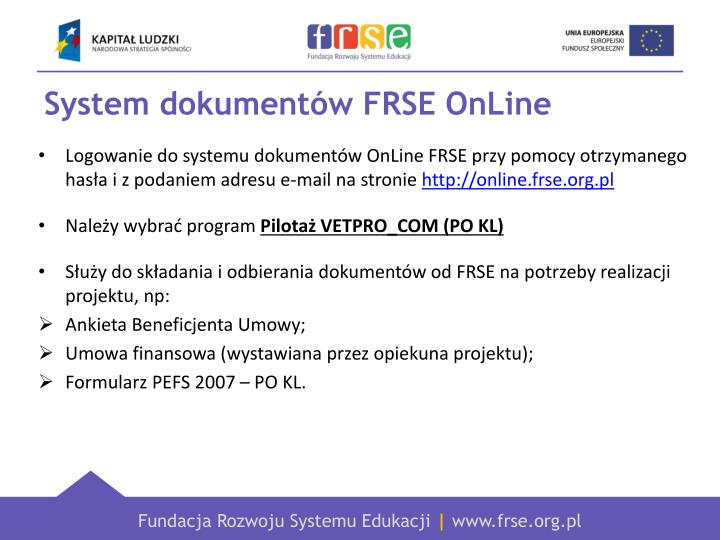 System dokumentów FRSE