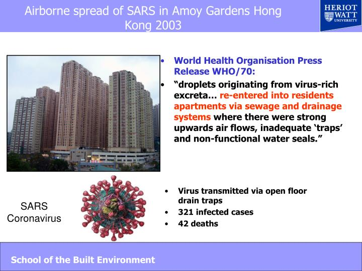 Airborne spread of SARS in Amoy Gardens Hong Kong 2003