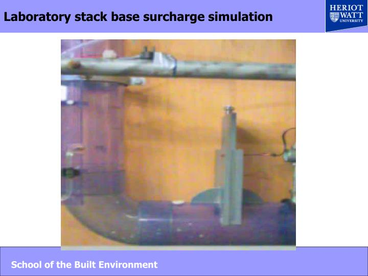 Laboratory stack base surcharge simulation