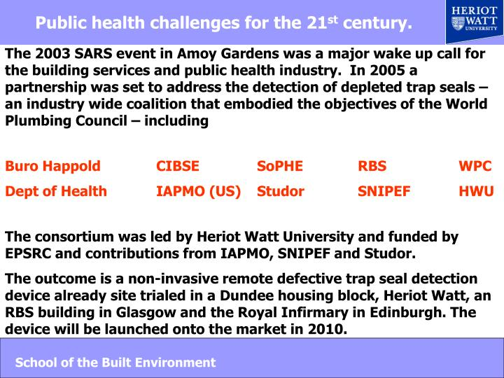Public health challenges for the 21