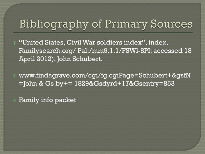 Bibliography of Primary Sources