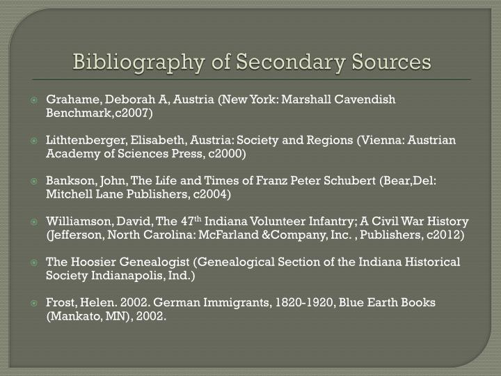 Bibliography of Secondary Sources