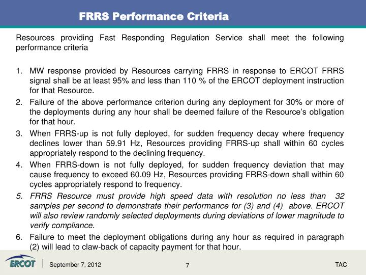 FRRS Performance Criteria