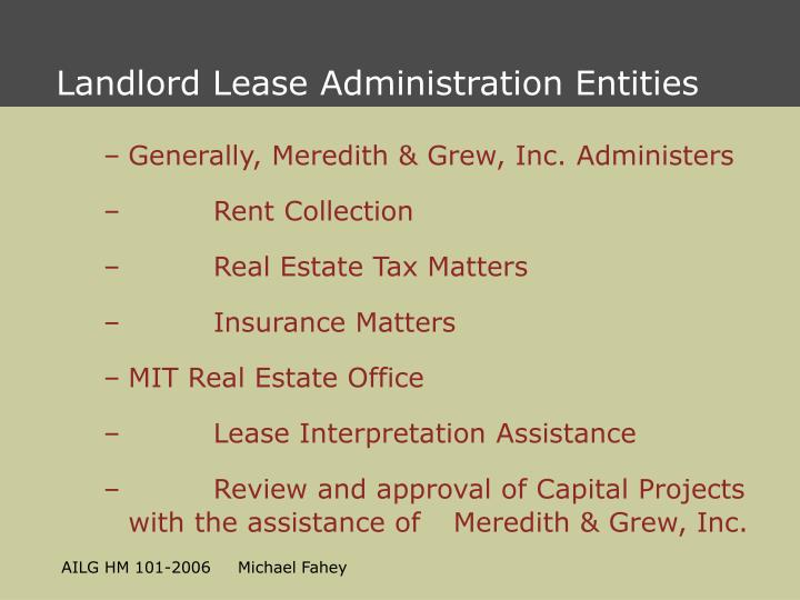 Landlord Lease Administration Entities