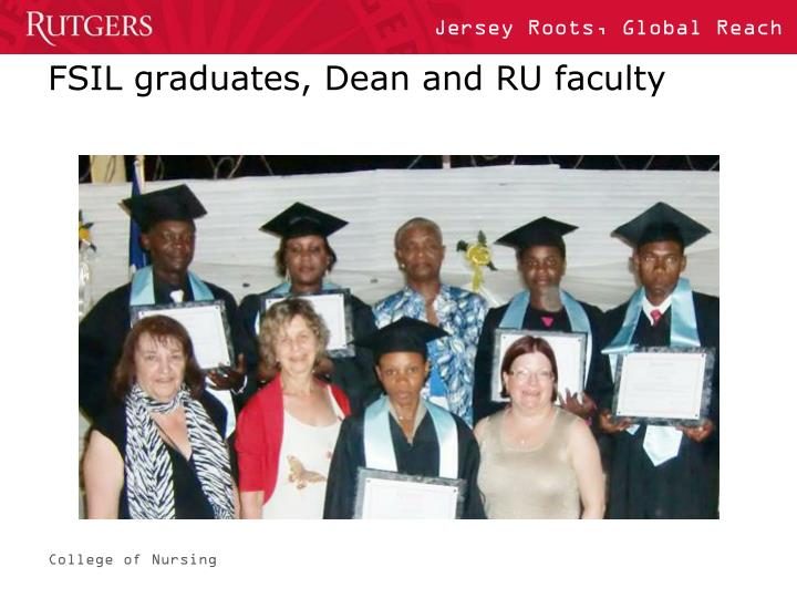 FSIL graduates, Dean and RU faculty