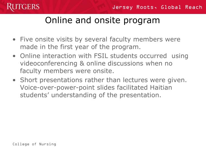 Online and onsite program
