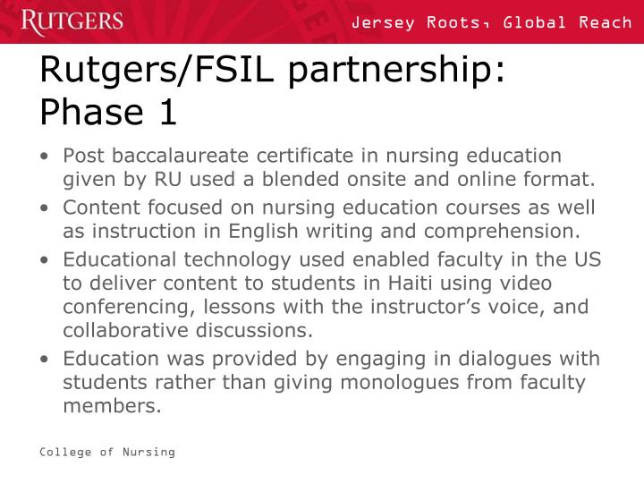 Rutgers/FSIL partnership: Phase 1