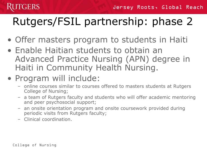 Rutgers/FSIL partnership: phase 2