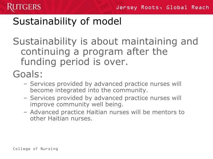 Sustainability of model