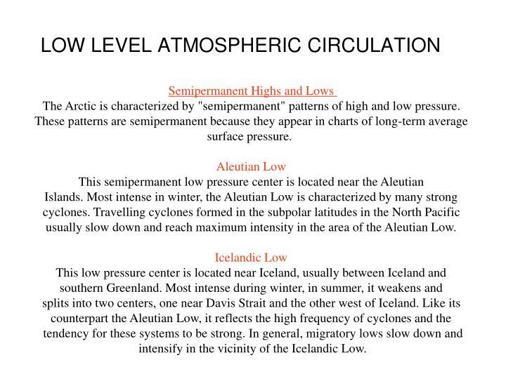 LOW LEVEL ATMOSPHERIC CIRCULATION