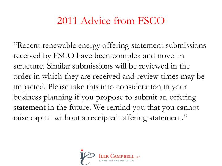 2011 Advice from FSCO