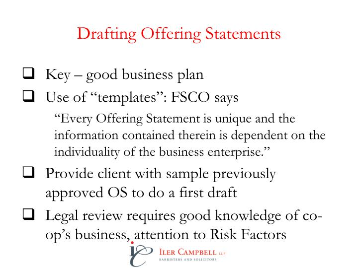 Drafting Offering Statements