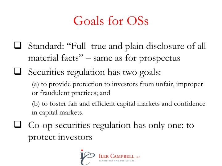 Goals for OSs